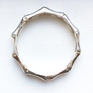 Silver bamboo & rhinestone bangle bracelet